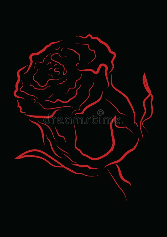 Red outline rose with different stroke effects. Black outline rose with different stroke effects and shapes on black background stock illustration