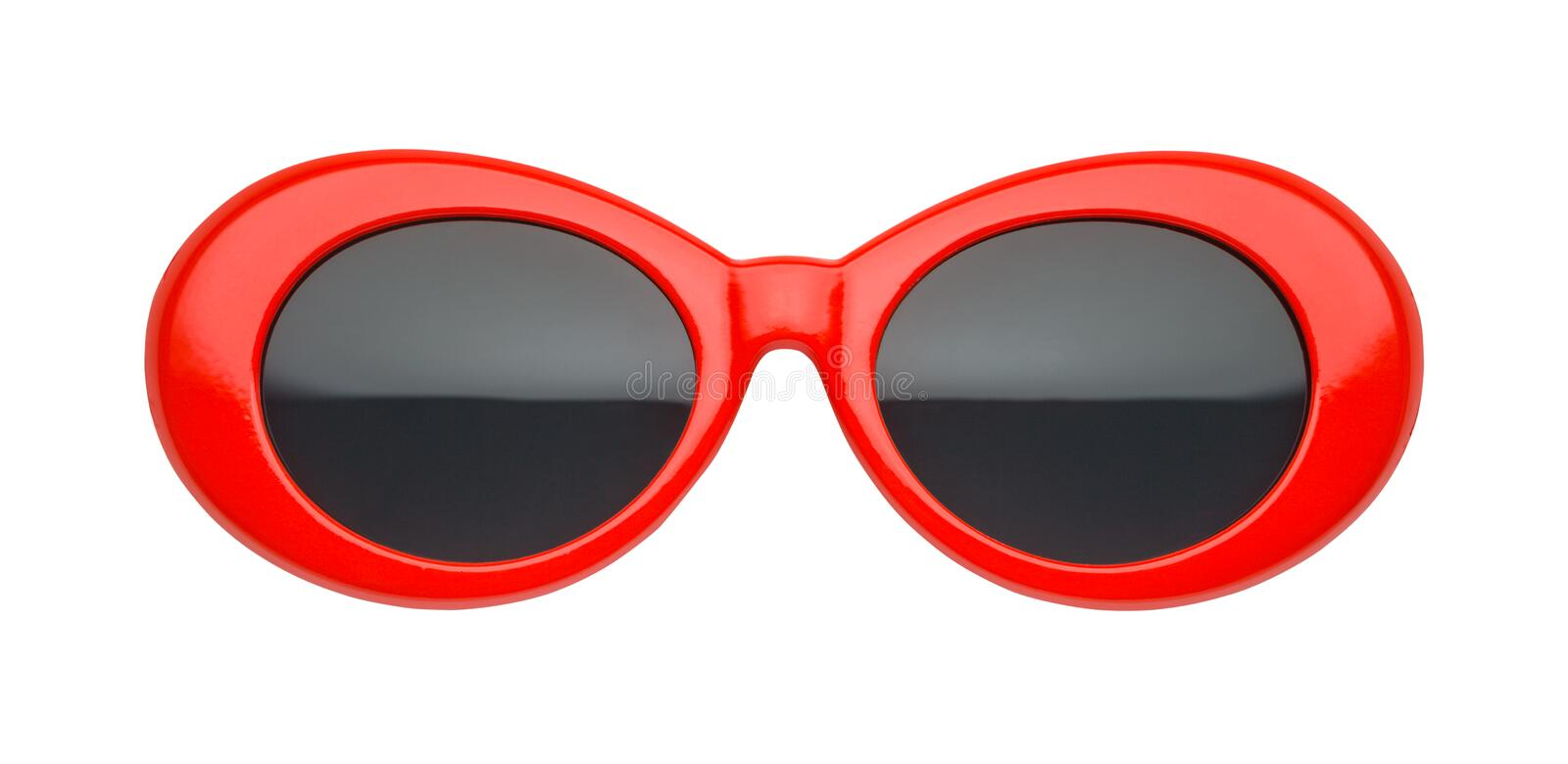 Red Oval Sunglasses Front View stock photo