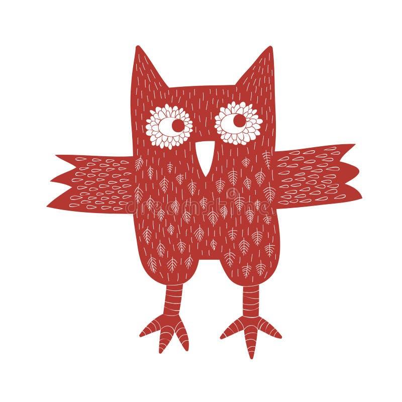 Red Owl vector illustration