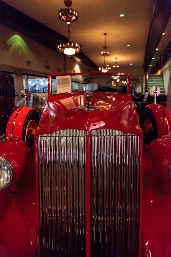 Red 1936 Packard Roadster Car. El Segundo, CA, USA - September 26, 2016: Red 1936 Packard Roadster Car displayed at the Automobile Driving Museum in El Segundo stock photography