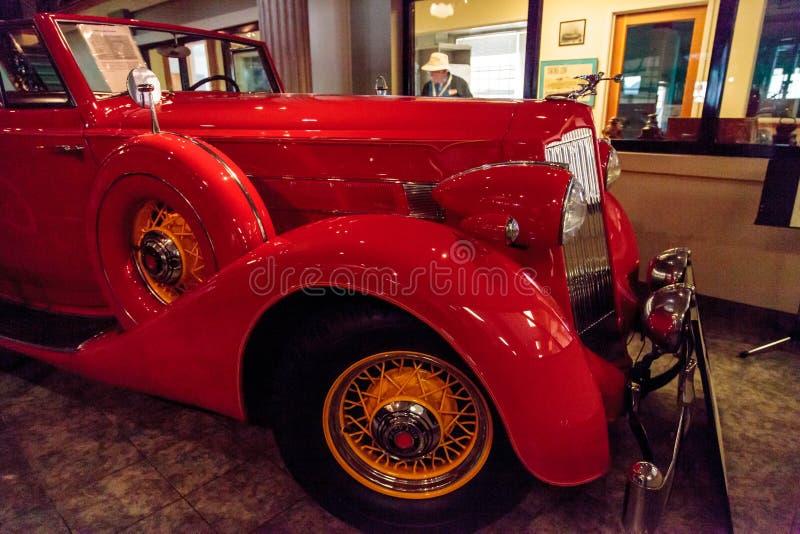 Red 1936 Packard Roadster Car. El Segundo, CA, USA - September 26, 2016: Red 1936 Packard Roadster Car displayed at the Automobile Driving Museum in El Segundo royalty free stock photography