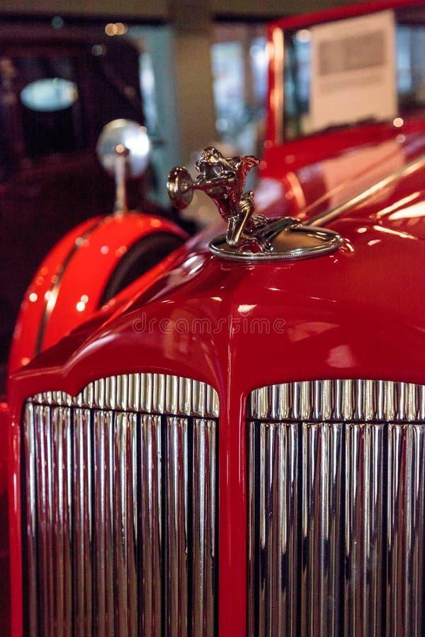 Red 1936 Packard Roadster Car. El Segundo, CA, USA - September 26, 2016: Red 1936 Packard Roadster Car displayed at the Automobile Driving Museum in El Segundo stock photo