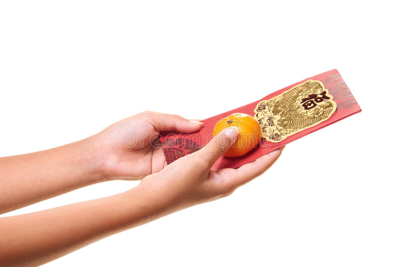 Red Packet With Mandarin Orange royalty free stock photography