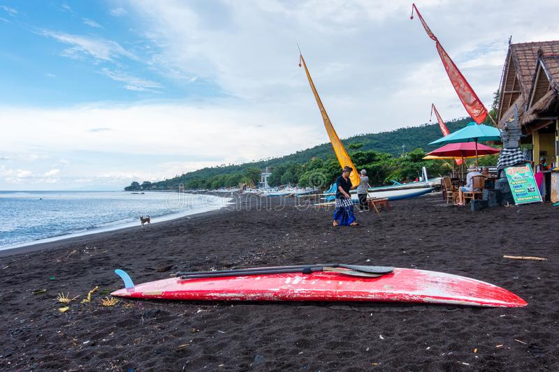 Red paddle board on Amed Beach in Bali stock images