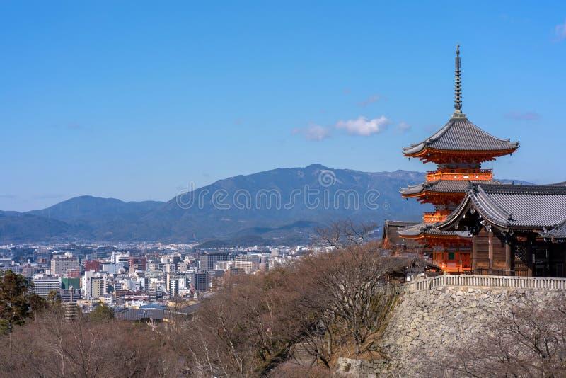 Red pagoda Beautiful architecture in Kiyomizu dera temple, Kyoto. Japan stock image