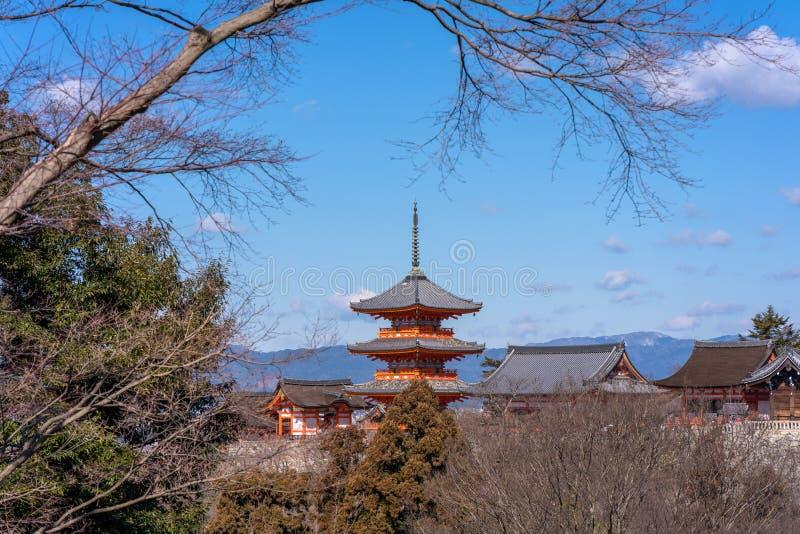 Red pagoda Beautiful architecture in Kiyomizu dera temple, Kyoto. Japan stock photos