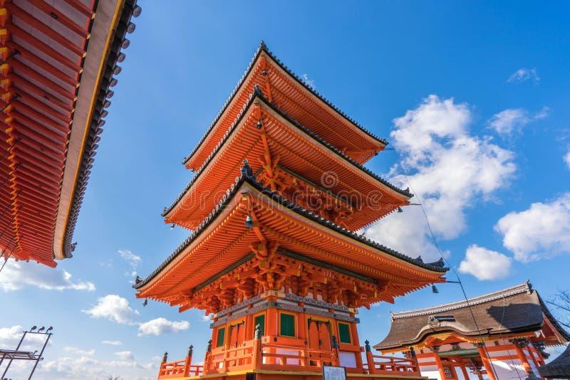 Red pagoda Beautiful architecture in Kiyomizu dera temple, Kyoto. Japan royalty free stock image