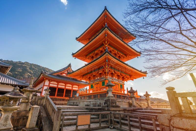 Red pagoda Beautiful architecture in Kiyomizu dera temple, Kyoto. Japan royalty free stock photo