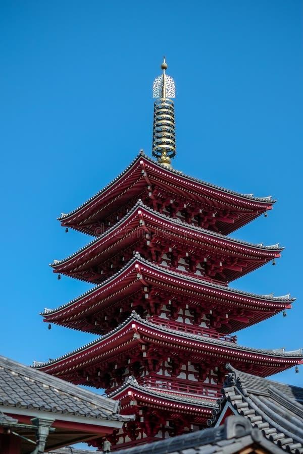 Red pagonda of japan temple royalty free stock photo