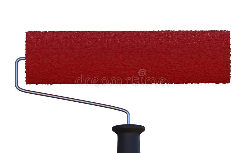 Red paint roller isolated on white background. 3D rendered illustration. Red paint roller isolated on white background. 3D rendered illustration vector illustration
