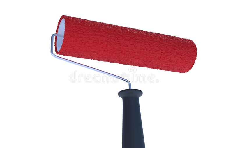 Red paint roller isolated on white background. 3D rendered illustration. Red paint roller isolated on white background. 3D rendered illustration stock illustration