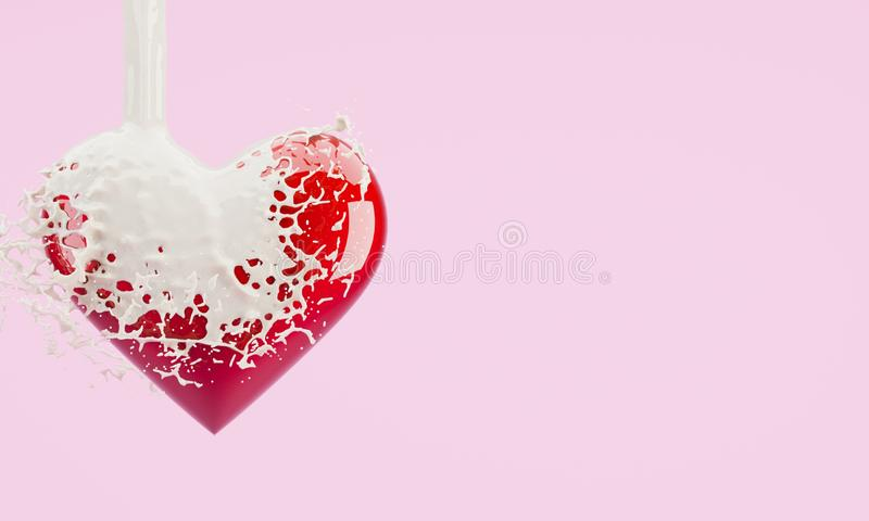 Red paint-spilled heart in pink pastel colors. Valentine`s day concept stock photo