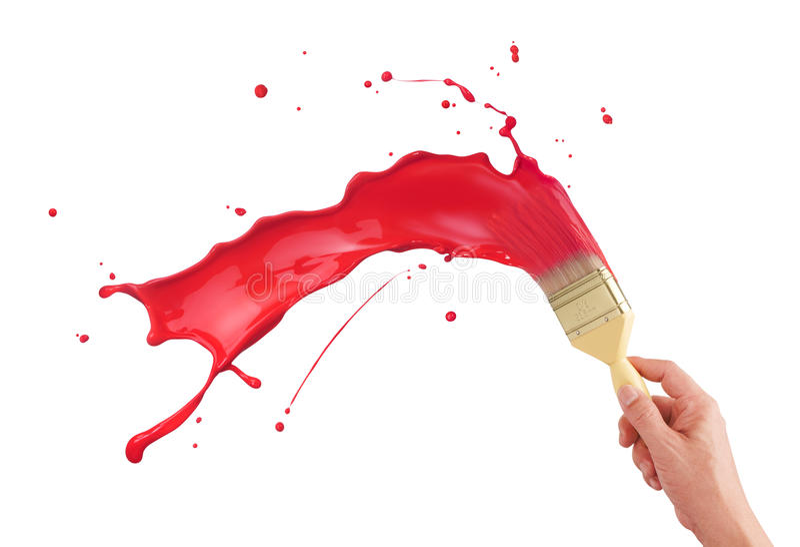 Red paint splashing royalty free stock photo