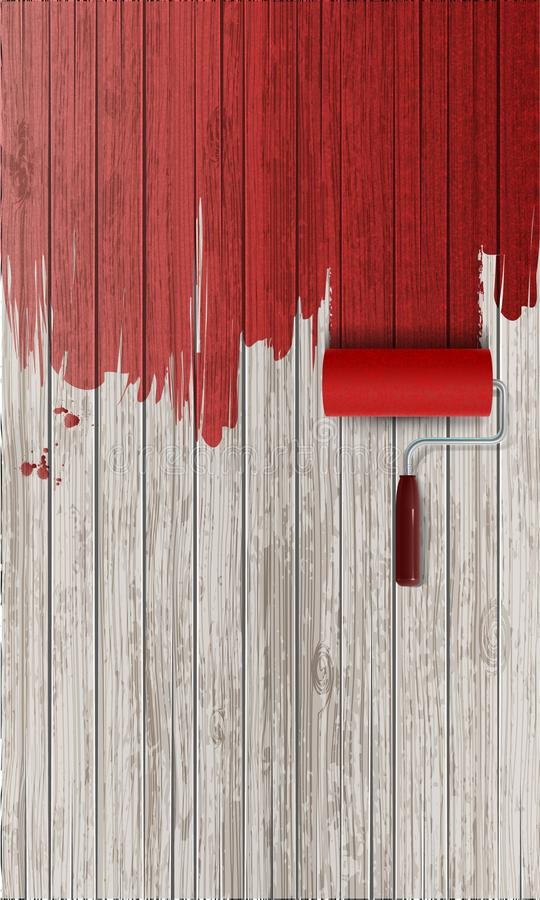 Red paint on wooden background. Paint roller painting with red paint on white wooden background. Realistic vector illustration with copy space stock illustration