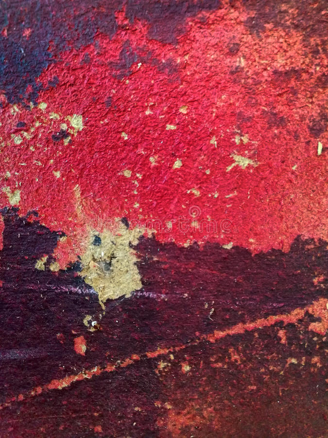 Red painted chipboard panel. With different marks and stitches stock images