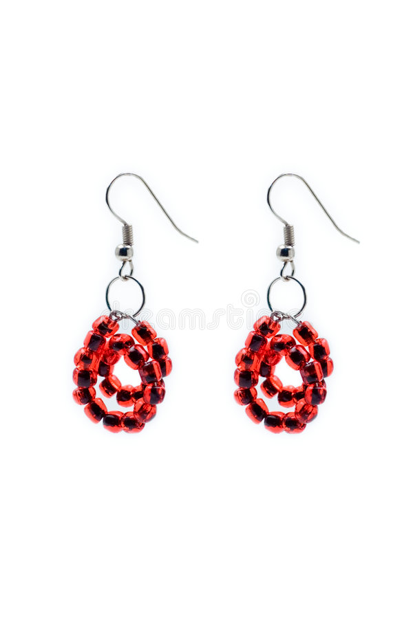 Download Red pair of earrings stock photo. Image of ornament, love - 497096