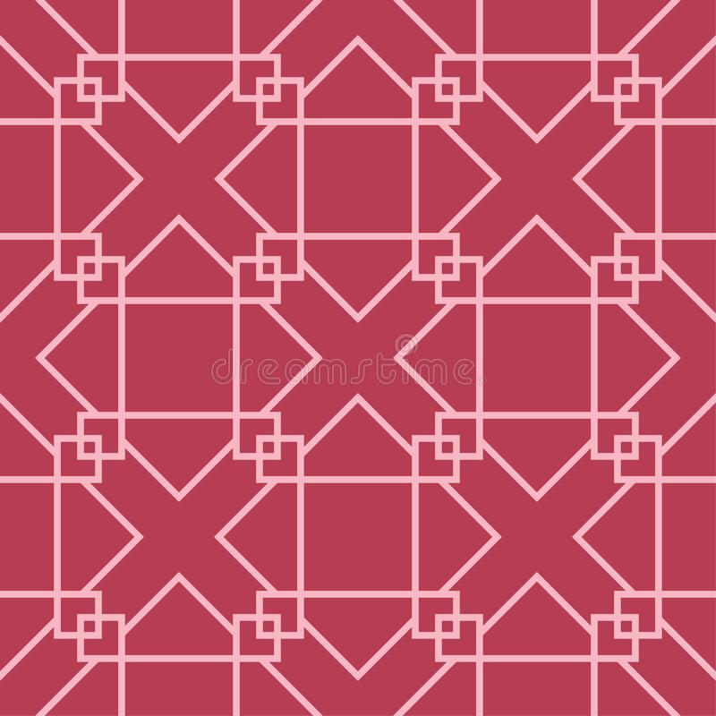 Red and pale pink geometric ornament. Seamless pattern stock illustration
