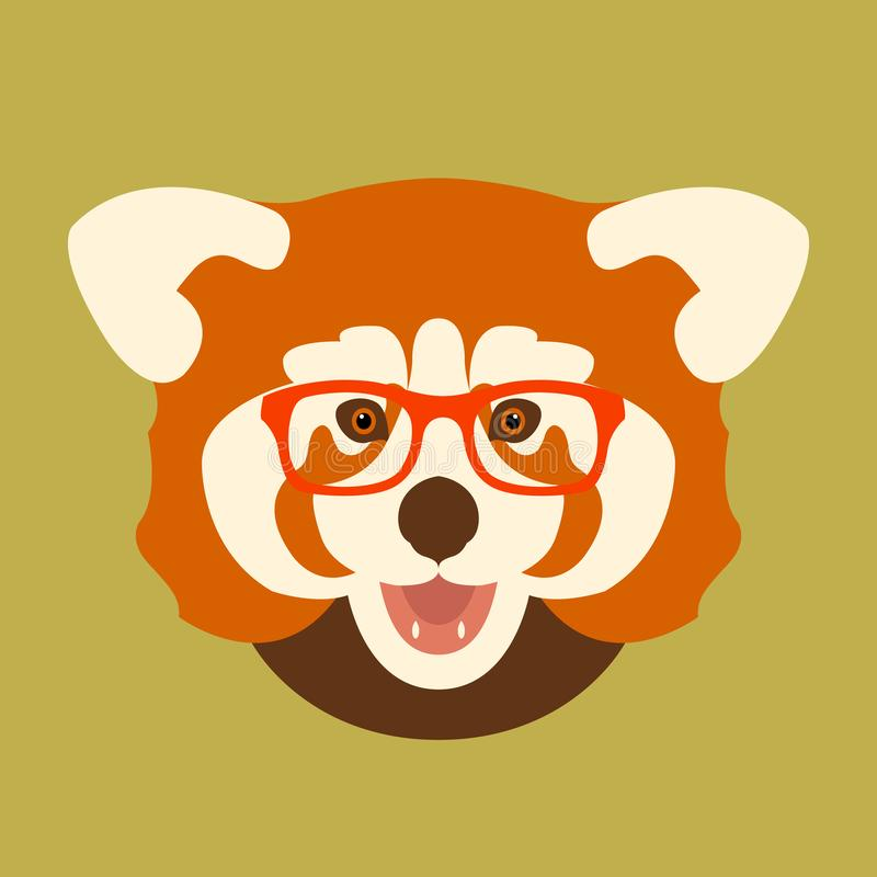 Red panda face in glasses vector illustration style flat royalty free illustration