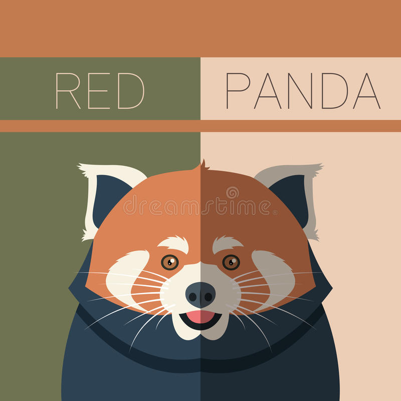 Red Panda flat postcard royalty free illustration
