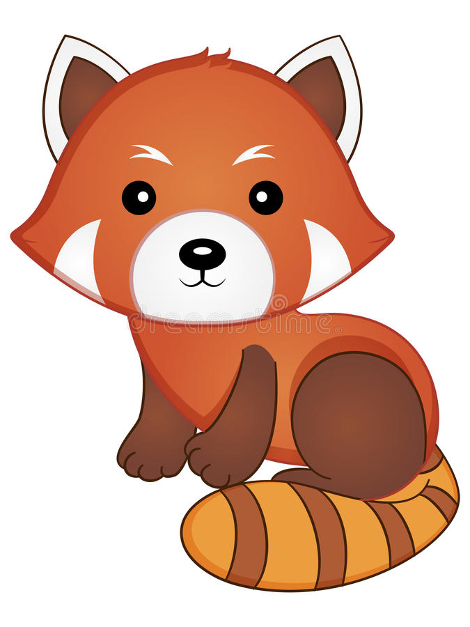 Red Panda Vector Illustration. Vector Illustration of a Cute Baby Red Panda royalty free illustration