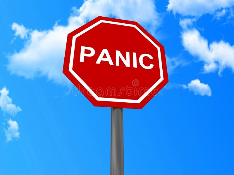 Red panic sign. With blue sky and cloudscape background royalty free illustration