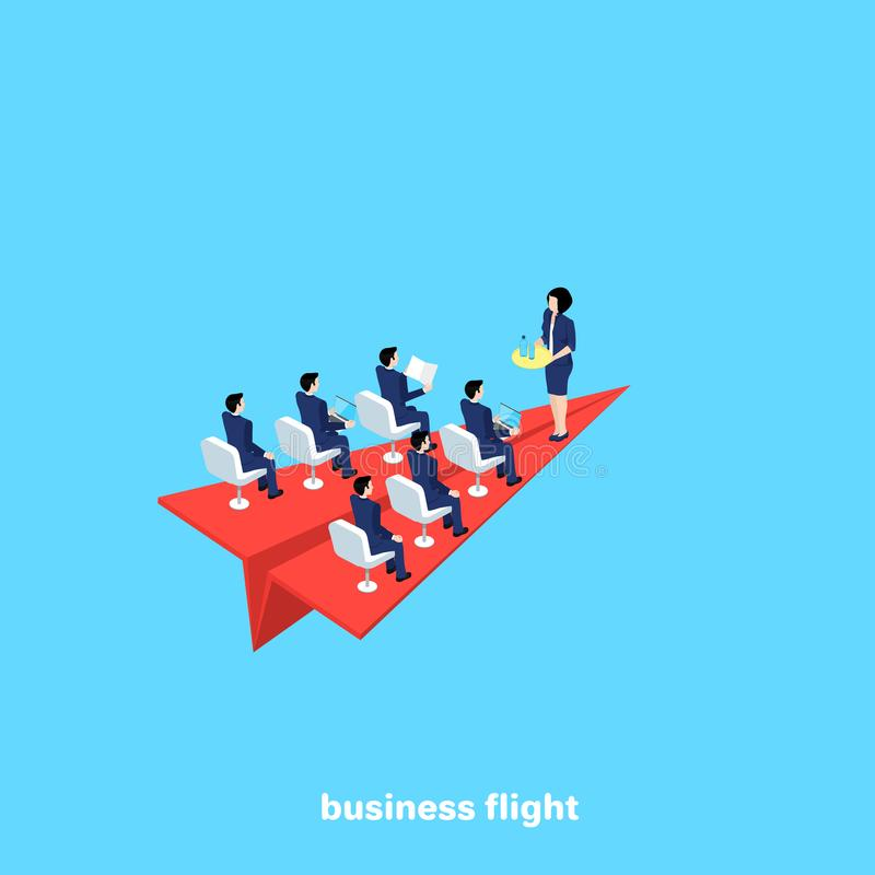On a red paper airplane fly men in business suits and a female flight attendant. An isometric image stock illustration