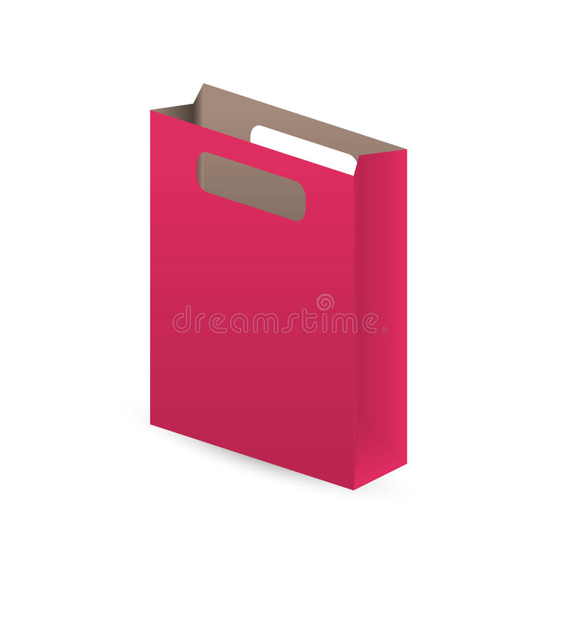 Red paper bag. Empty red paper bag with shadow on white background royalty free illustration