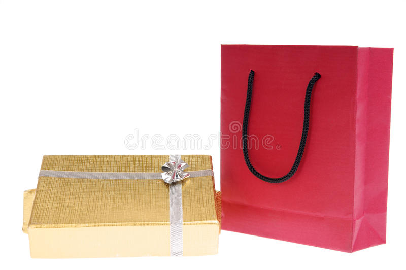 Download Red Paper Bag And Gold Gift Box With Bow Stock Image - Image of surprise, celebrating: 12122025