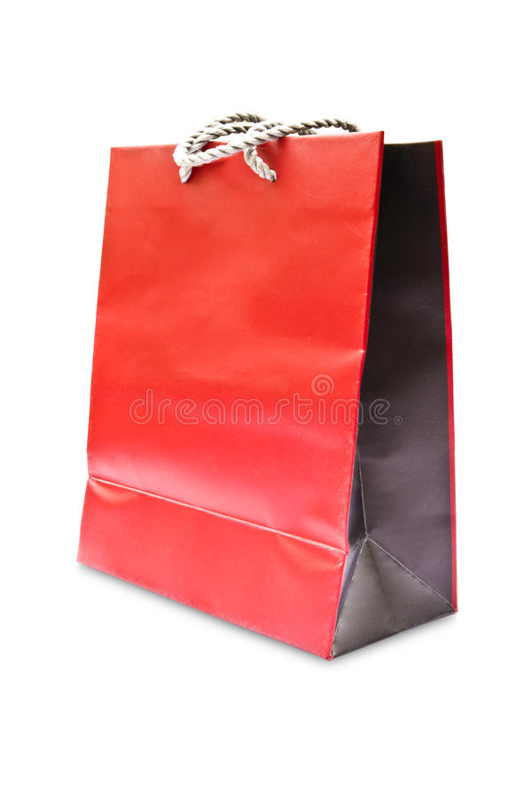 Red paper bag isolated