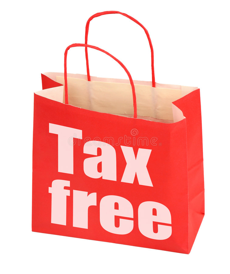 Red paper bag with tax free sign. On white background, photo does not infringe any copyright stock photo