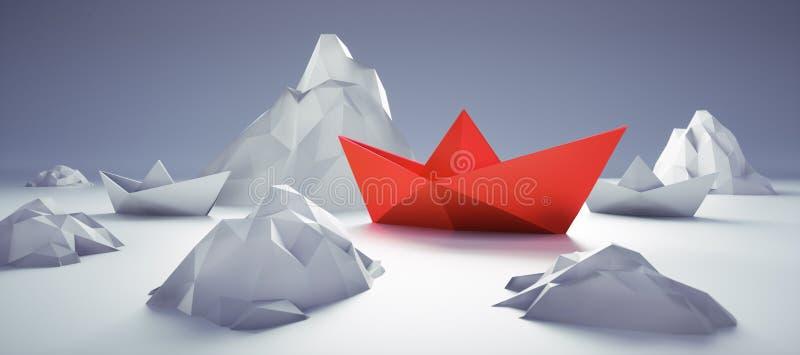 Red paper boat in danger vector illustration