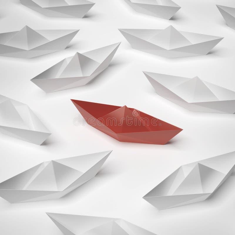 Red paper boat stock illustration
