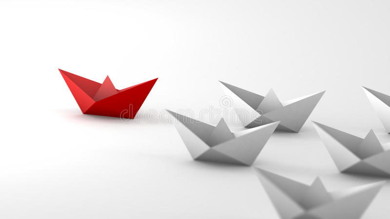 The red paper boat paves the way for white boats. Close-up view. The red paper boat paves the way for white boats. Metaphor of followers and leader. Close-up royalty free illustration
