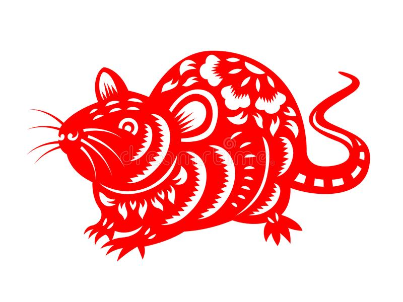 Red paper cut chinese rat zodiac isolate on white background vector design vector illustration