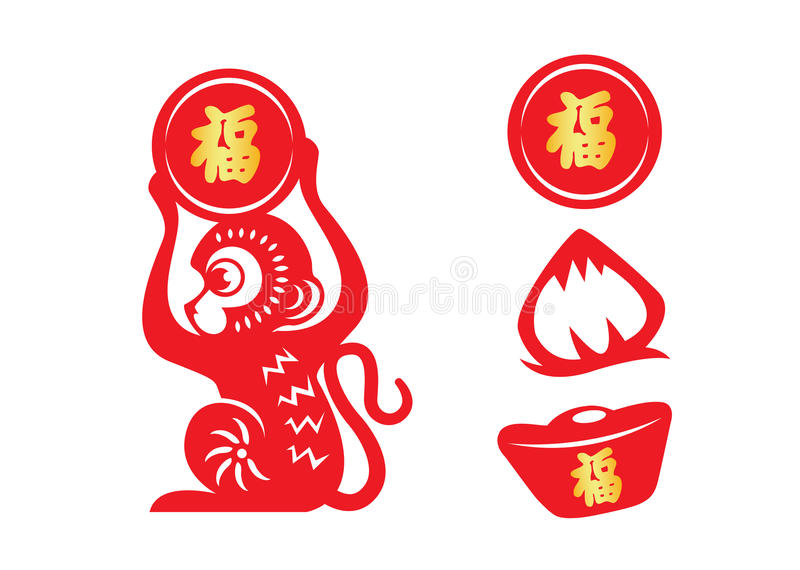 Red Paper Cut Monkey Zodiac Symbol Holding Money Coin Peach And