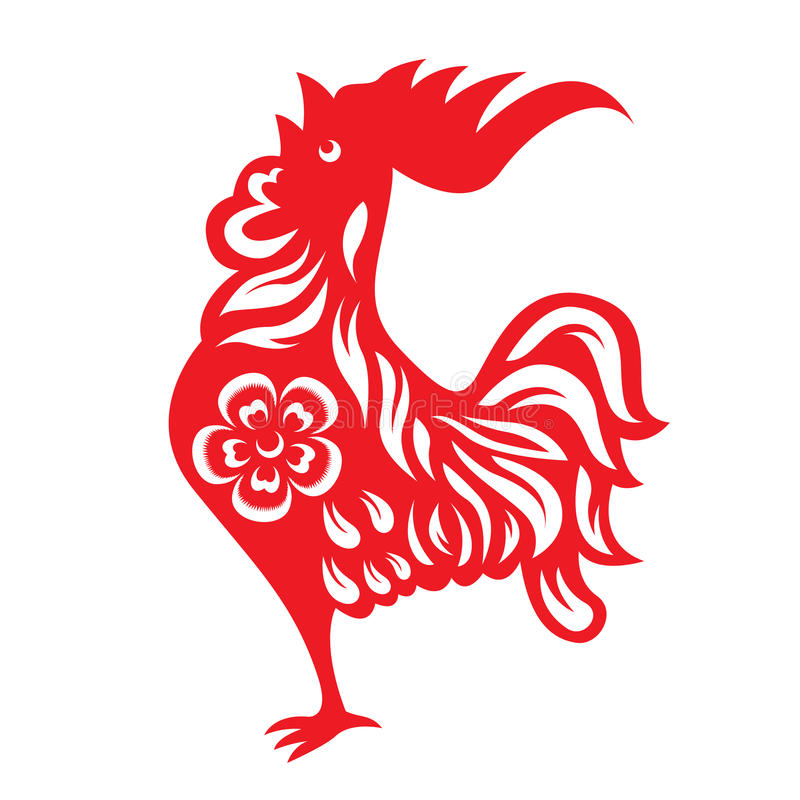 Red Paper Cut A Rooster Crows Chicken Zodiac Symbols Stock Vector