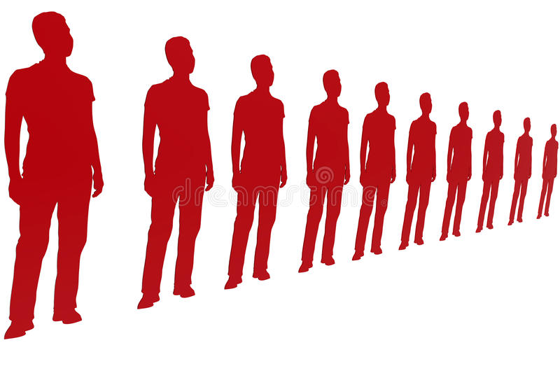 Red paper cutouts standing vector illustration