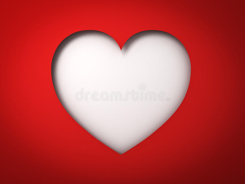 Download Red Paper Heart Hole Valentines Day Card On Blank White Background With Shadow Stock Illustration
