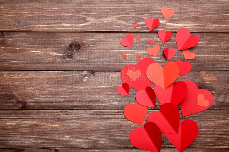 Red paper hearts stock image