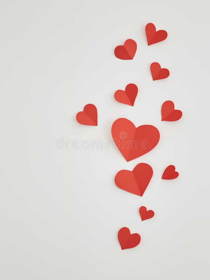 Red paper hearts on canvas royalty free stock photography