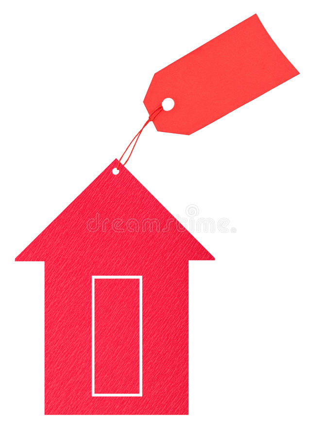 Red paper house with tag. On white background royalty free stock photo