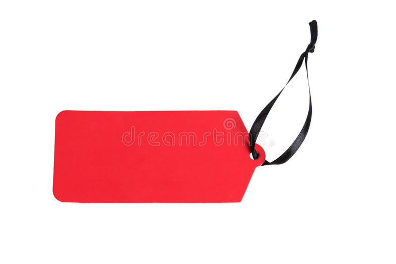 Red paper label with ribbon stock photo