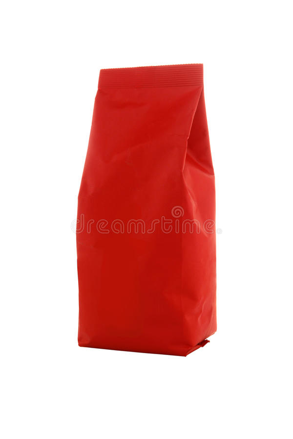 Red paper package of coffee. Tea, sugar, spices or flour royalty free stock photo
