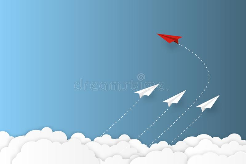 Red paper plane changing direction new idea different business concept paper art cut style vector illustration.  vector illustration