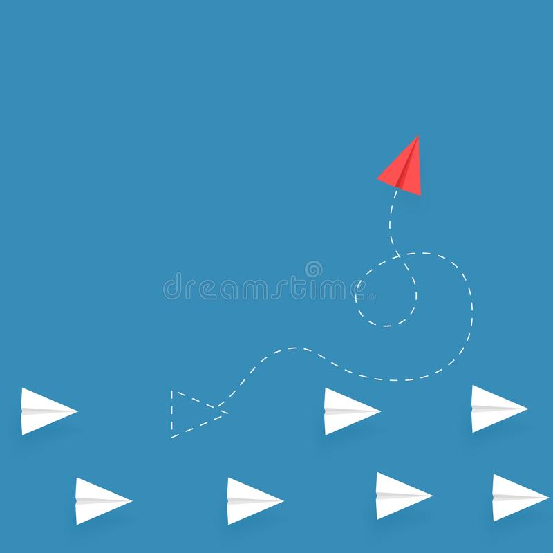 Red paper plane flying different way from white paper planes on blue background. Think different. Business poster concept. Vector vector illustration