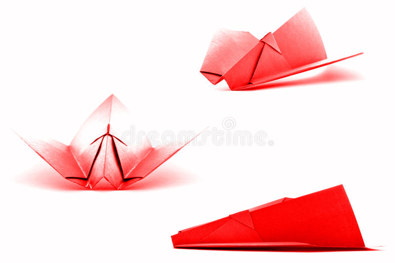 Red paper plane set, origami collection isolated on white background royalty free stock photo