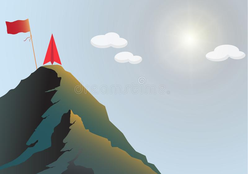 Red paper plane on top of mountain with flag, business leadership ambitious successful goal achievement concept. Vector illustration stock illustration