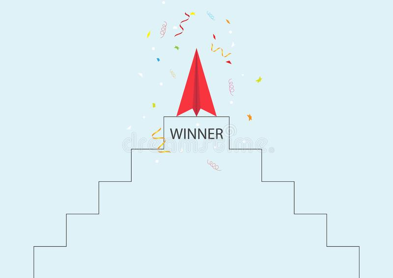 Red paper plane on top of stand with confetti, business leadership ambitious successful goal achievement concept. Vector illustration royalty free illustration