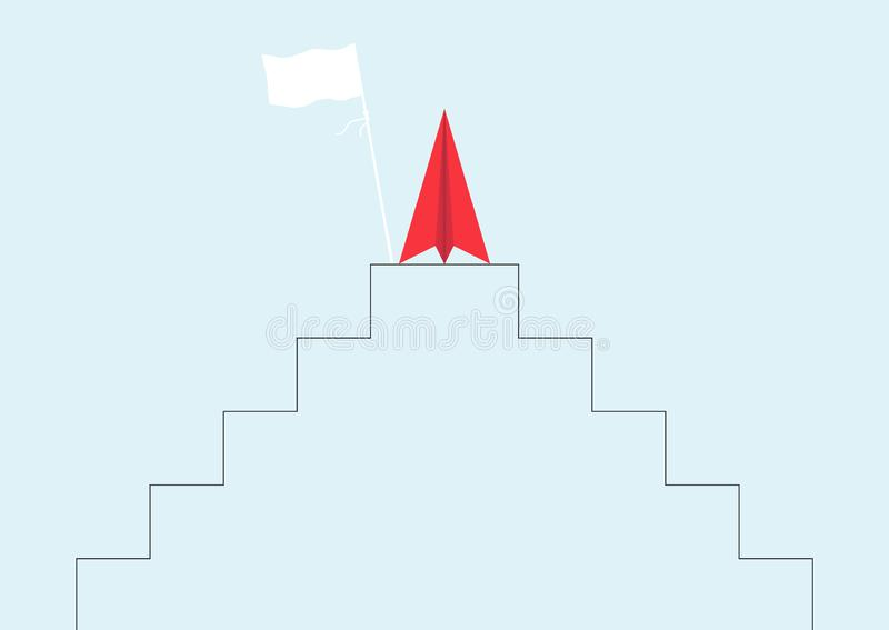 Red paper plane on top of stand with flag, business leadership ambitious successful goal achievement concept. Vector illustration stock illustration