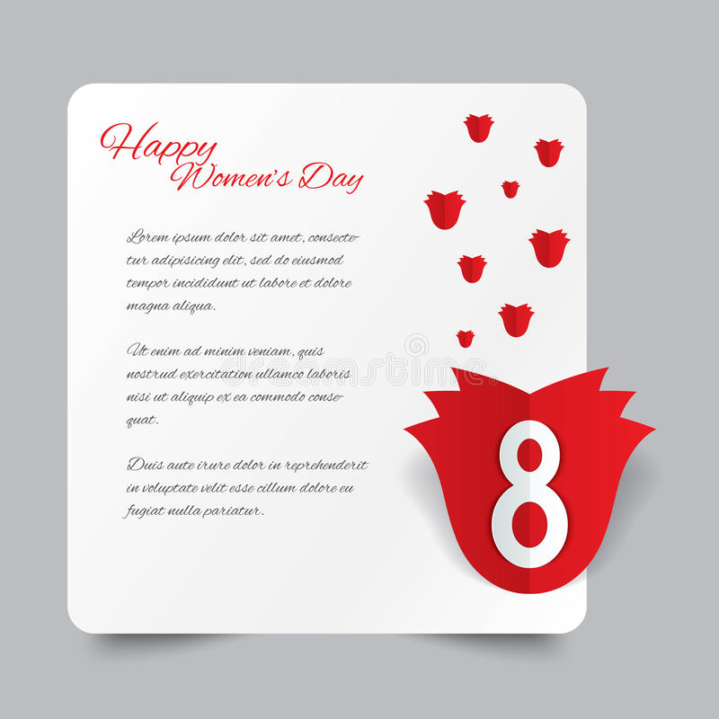 Download Red Paper Rose 8 March Women's Day Card. Stock Vector - Image: 37732047